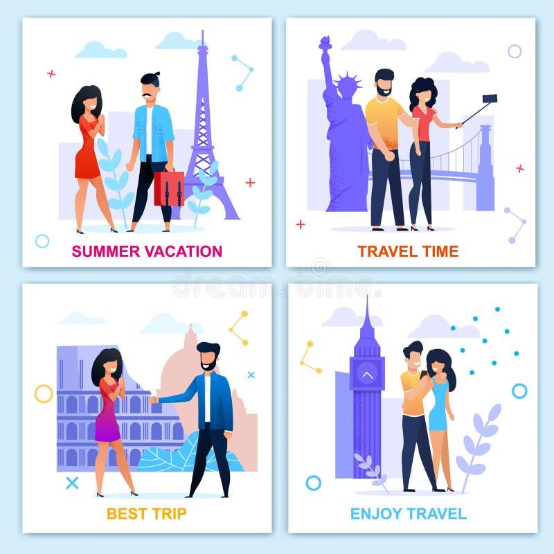 Reistijd in Reeks van de de Zomer de Motieven Vlakke Kaart vector illustratie