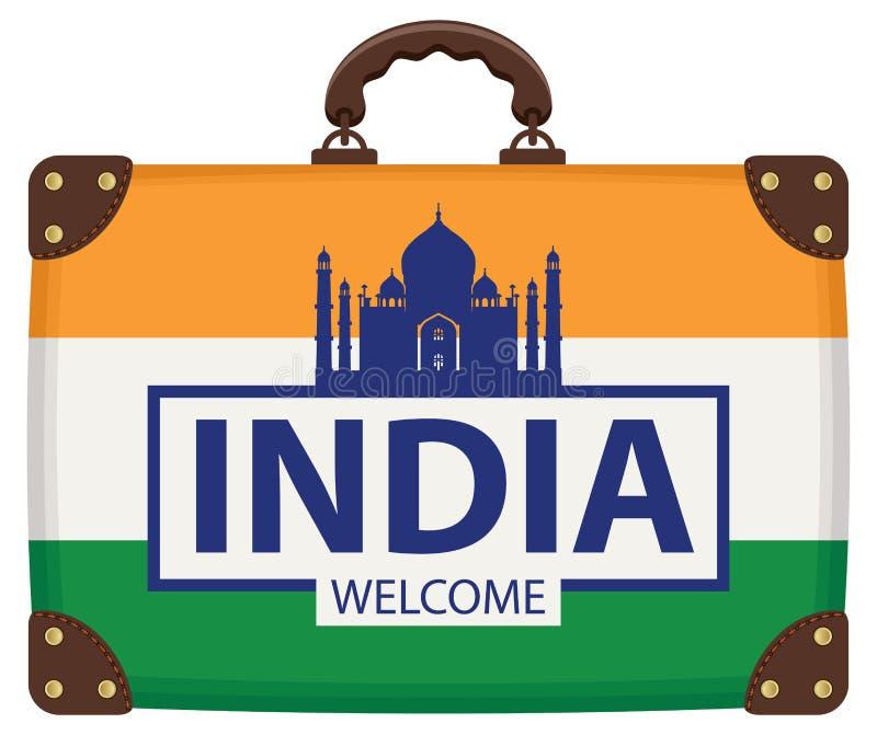 Reiszak met Indische vlag en Taj Mahal vector illustratie