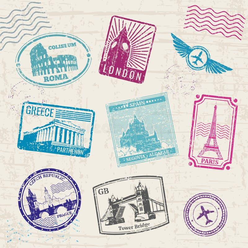 Reiszegels met de oriëntatiepunten van de landen van Europa Naadloze bloemenachtergrond stock illustratie