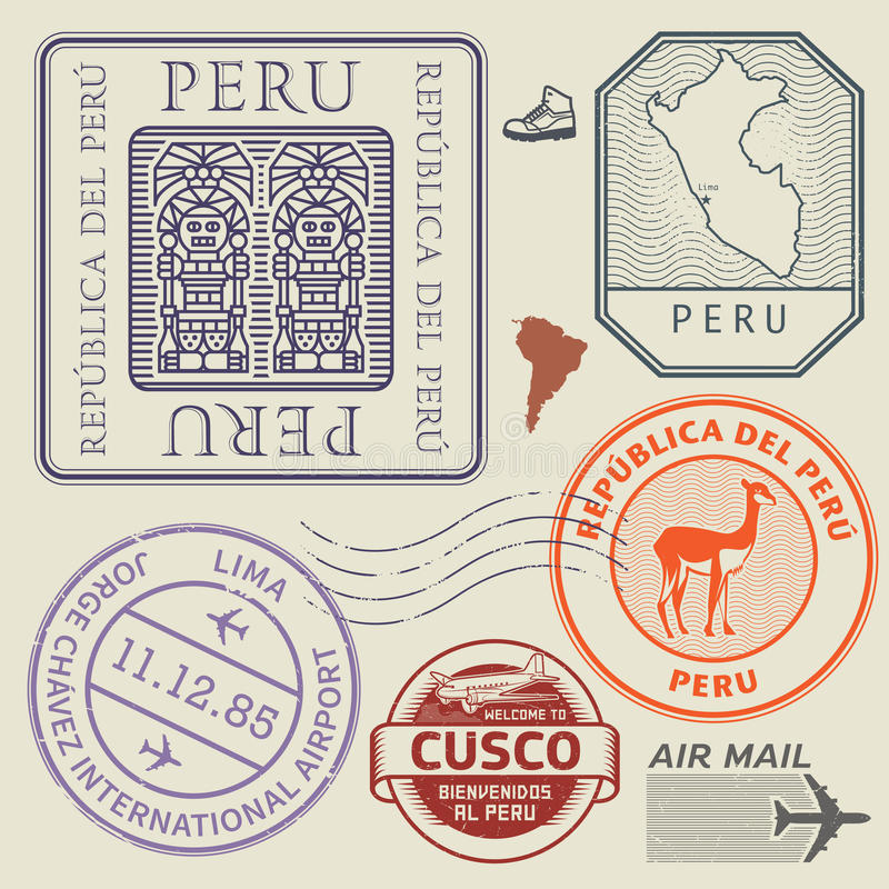 Reiszegels of symbolen het thema geplaatst van Peru, Zuid-Amerika vector illustratie