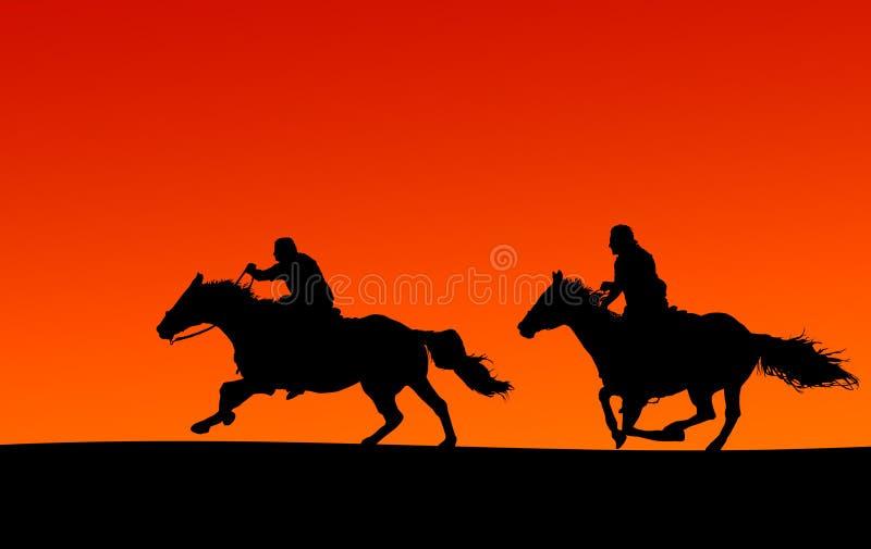 Reiter silhouettieren (Ausschnittspfade) lizenzfreie stockfotografie