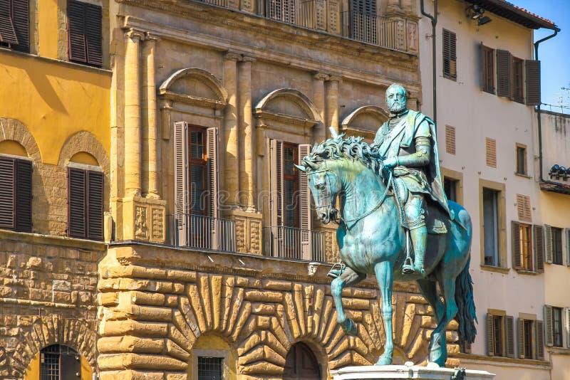 Reitermonument von Cosimo I in Florenz lizenzfreies stockbild