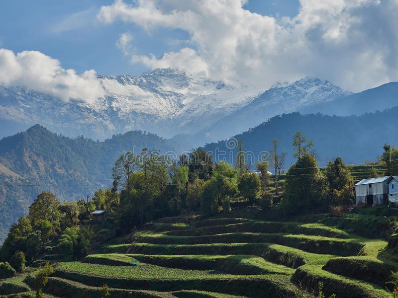 Reiterrassen und Bauernhaus inmitten der Hügellandschaft und dem Annapurna-Massif mit schneebedeckten Gipfeln Rundweg um Annapurn lizenzfreie stockfotografie