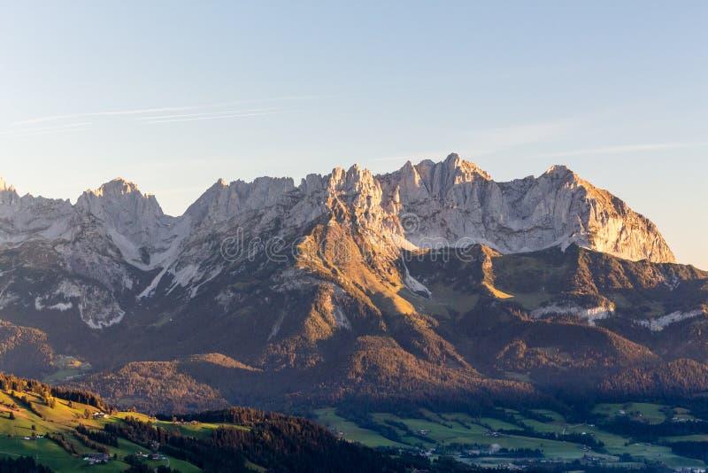 Reith beim Kitzbuehel, Tirol/Austria - September 27 2018: Wilder. Kaiser mountain during sunrise royalty free stock image