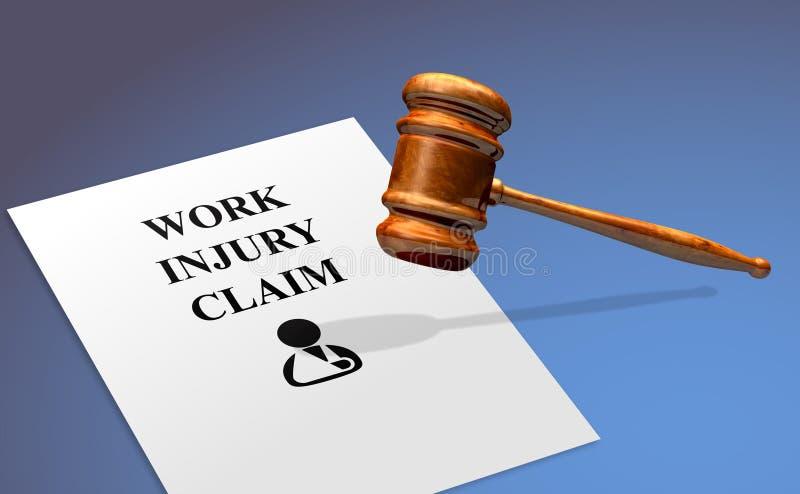 Reivindicação de ferimento de trabalho com um martelo legal imagem de stock