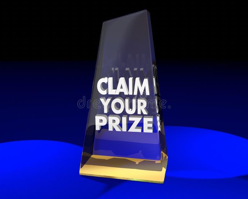 Reivindique seu vencedor premiado do troféu da concessão ilustração do vetor