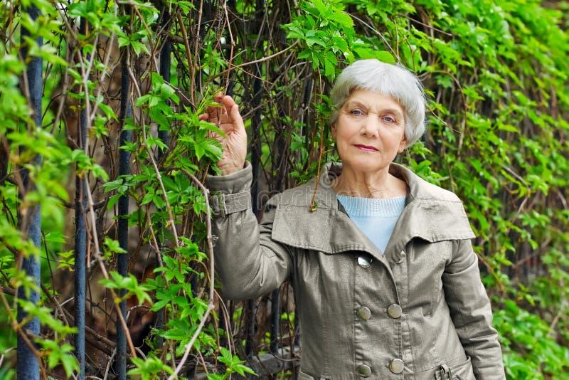 Reizend älterer Frauensenior im Park mit Laub stockfotos
