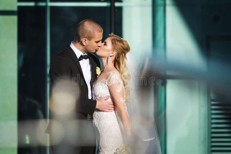 Reizend Braut und Bräutigam, die nahe futuristischem Gebäude küsst lizenzfreie stockbilder