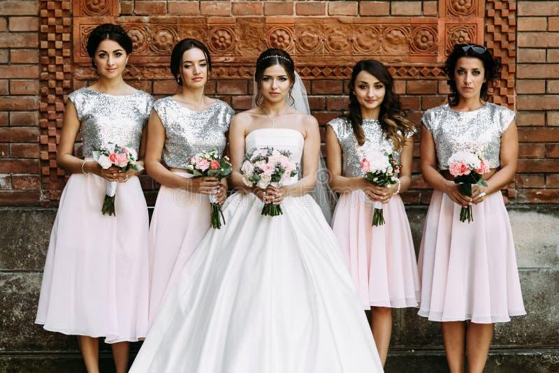 Reizend Brautjungfern in den fabelhaften Kleidern lizenzfreies stockbild