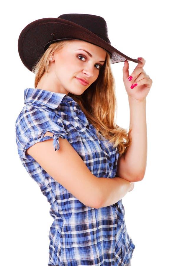 Reizend Dame im Cowboyhut lizenzfreie stockfotografie
