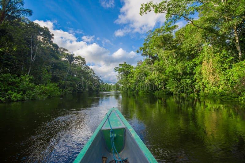 Reizend door boot in de diepte van de Wildernissen van Amazonië in het Nationale Park van Cuyabeno, Ecuador royalty-vrije stock afbeelding