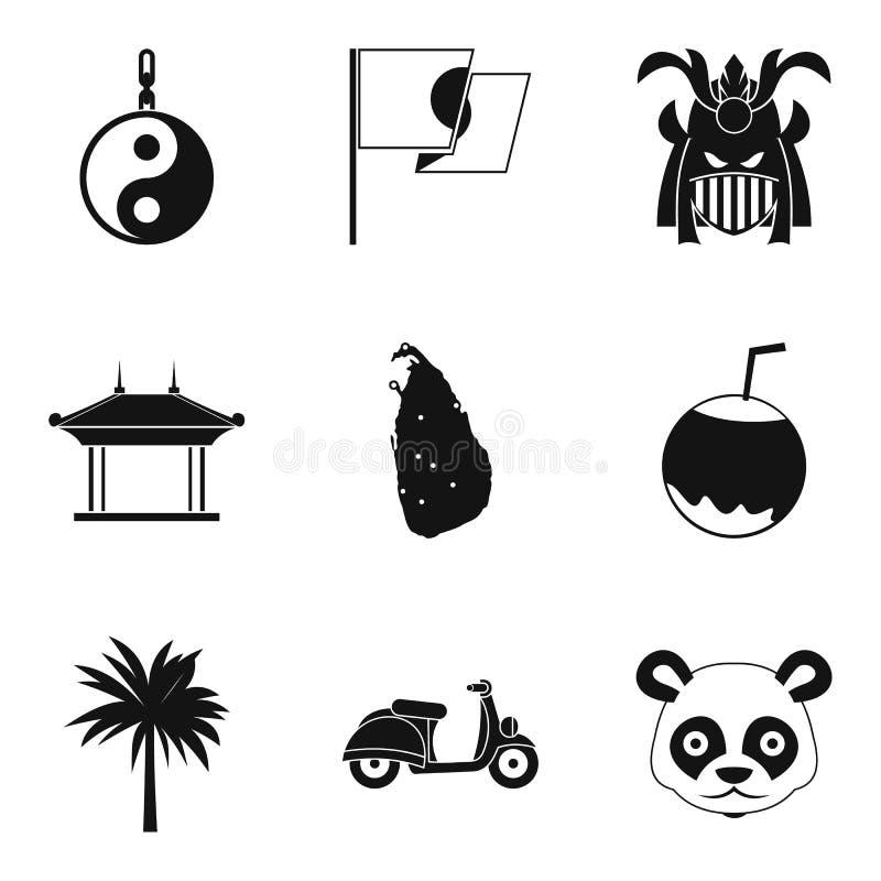 Reizend in geplaatste de pictogrammen van Azië, eenvoudige stijl vector illustratie