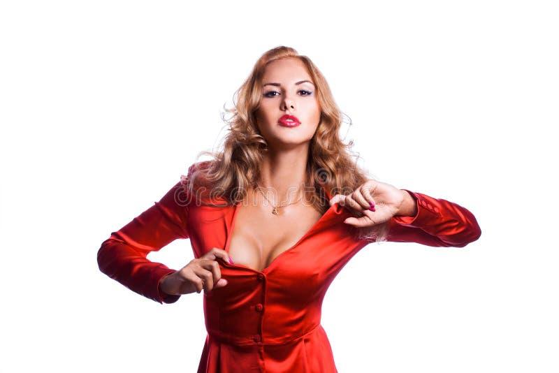 Reizend Geschäftsfrau in der roten Jacke lizenzfreie stockfotos