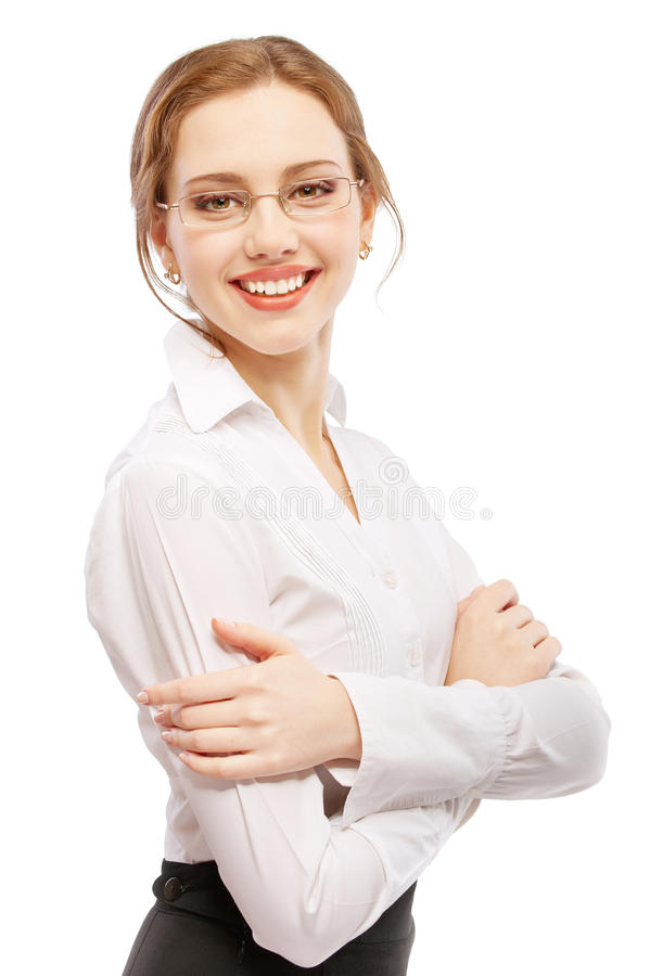 Reizend Geschäftsfraulächeln lizenzfreie stockbilder