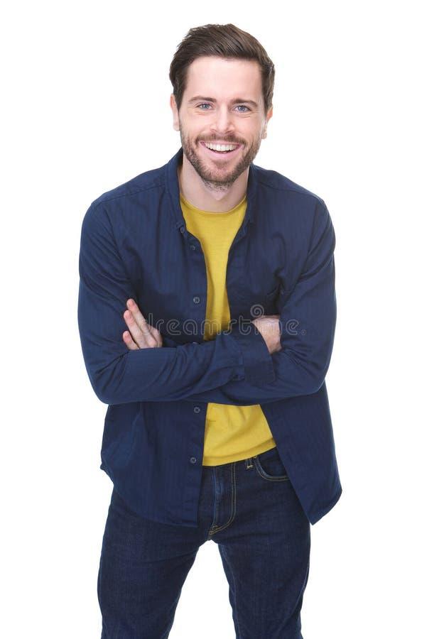 Reizend junger Mann mit dem Bartlächeln lizenzfreies stockbild