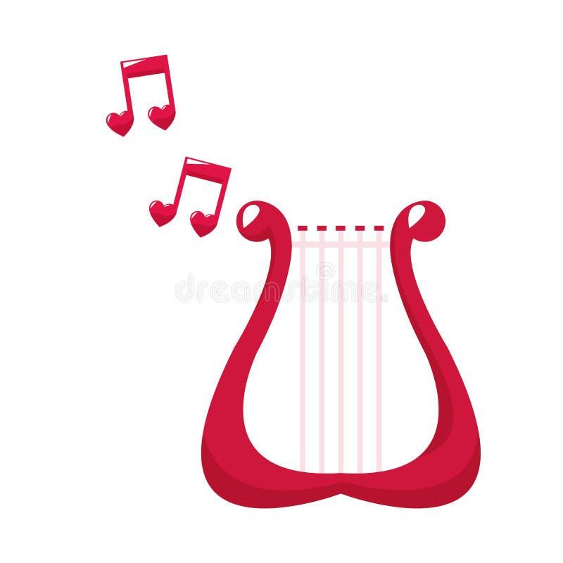 Reizende Anmerkungsmusik der netten Harfe stock abbildung