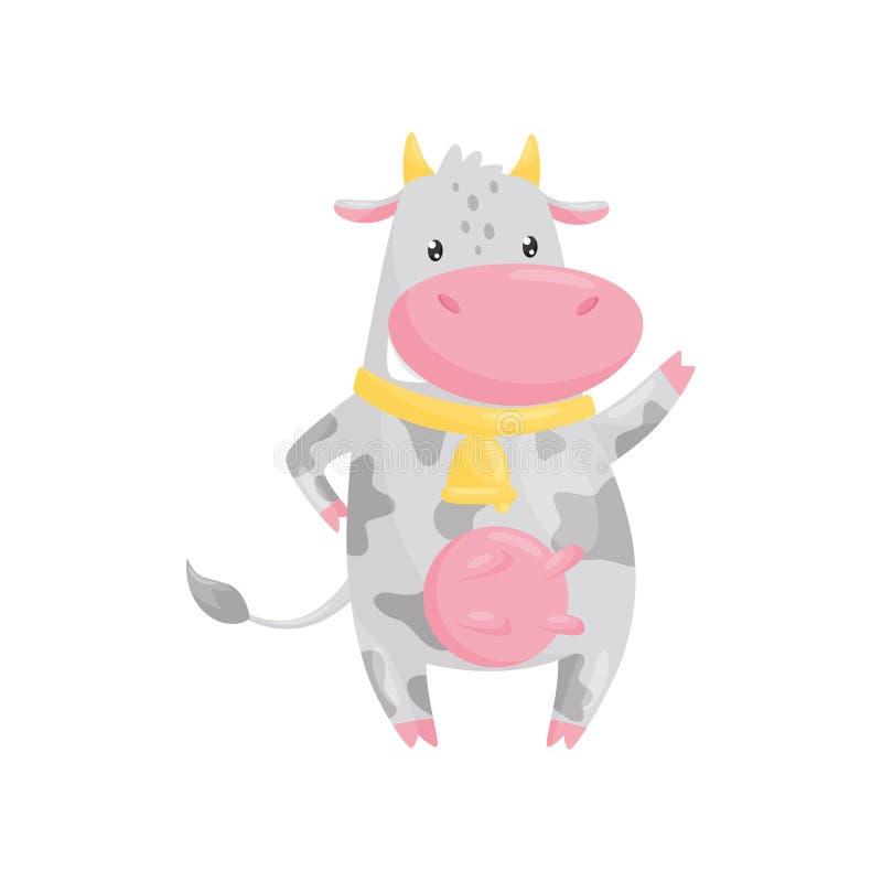 Reizende beschmutzte Kuh mit goldener Glocke, lustige Vieh-Zeichentrickfilm-Figur-Vektor Illustration auf einem weißen Hintergrun lizenzfreie abbildung