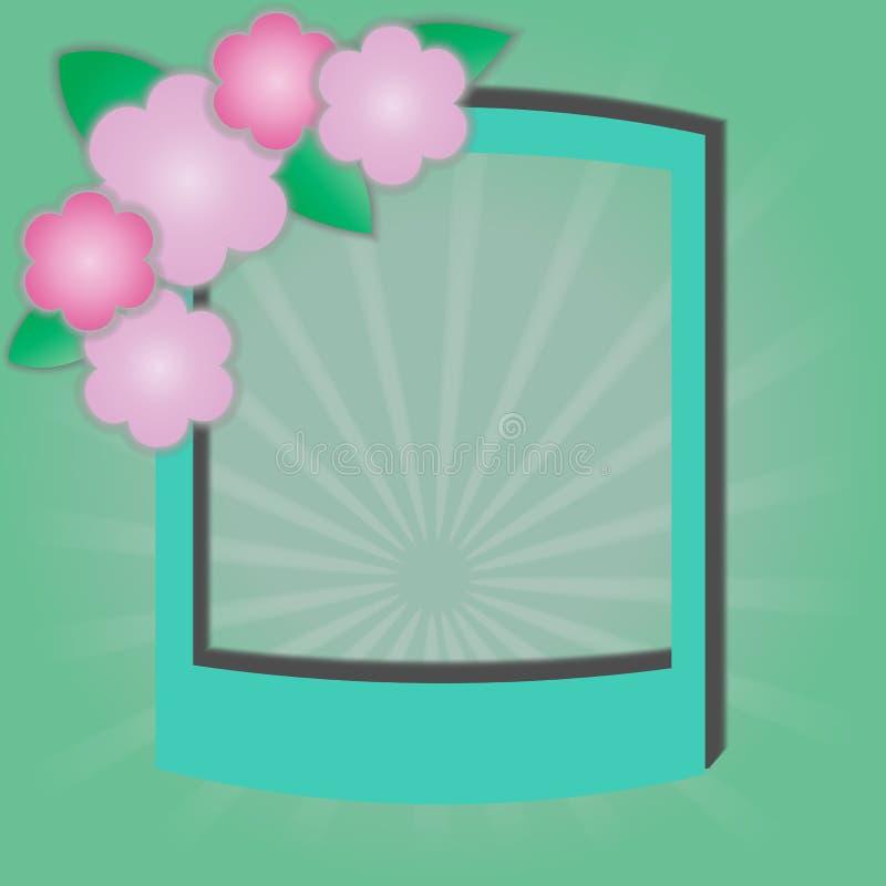 Reizende Blumen mit buntem grünem Rahmen Auch im corel abgehobenen Betrag vektor abbildung