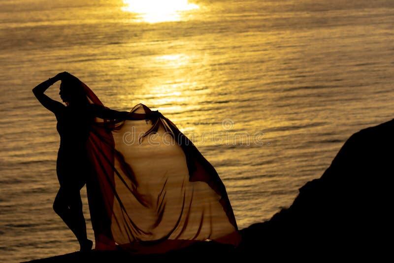 Reizende Brunette Bikini-Modell-Relaxing On The-Küstenlinie bei Sonnenuntergang stockfotografie