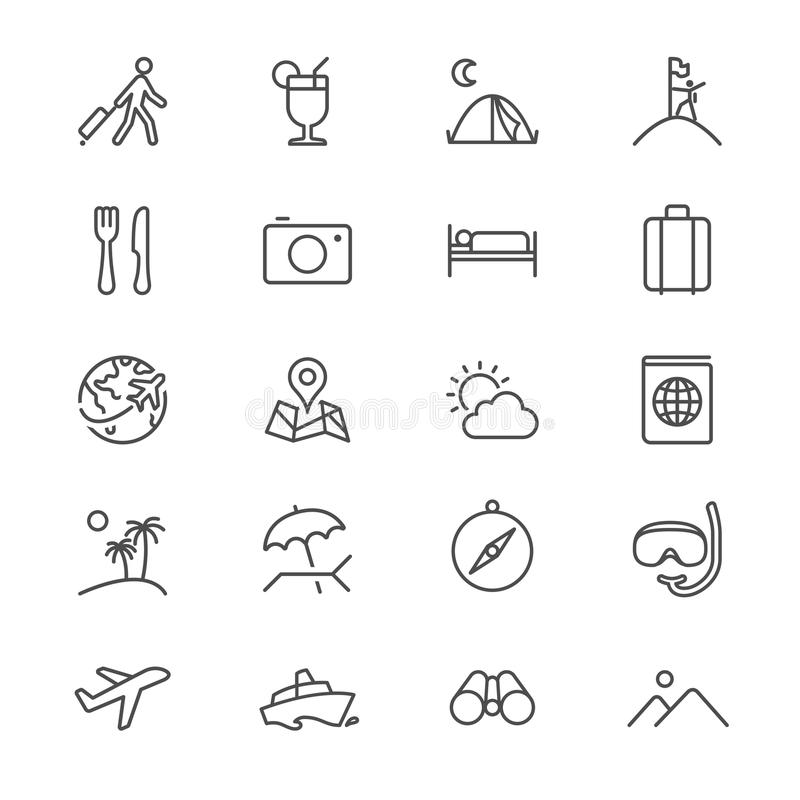 Reizende dunne pictogrammen stock illustratie