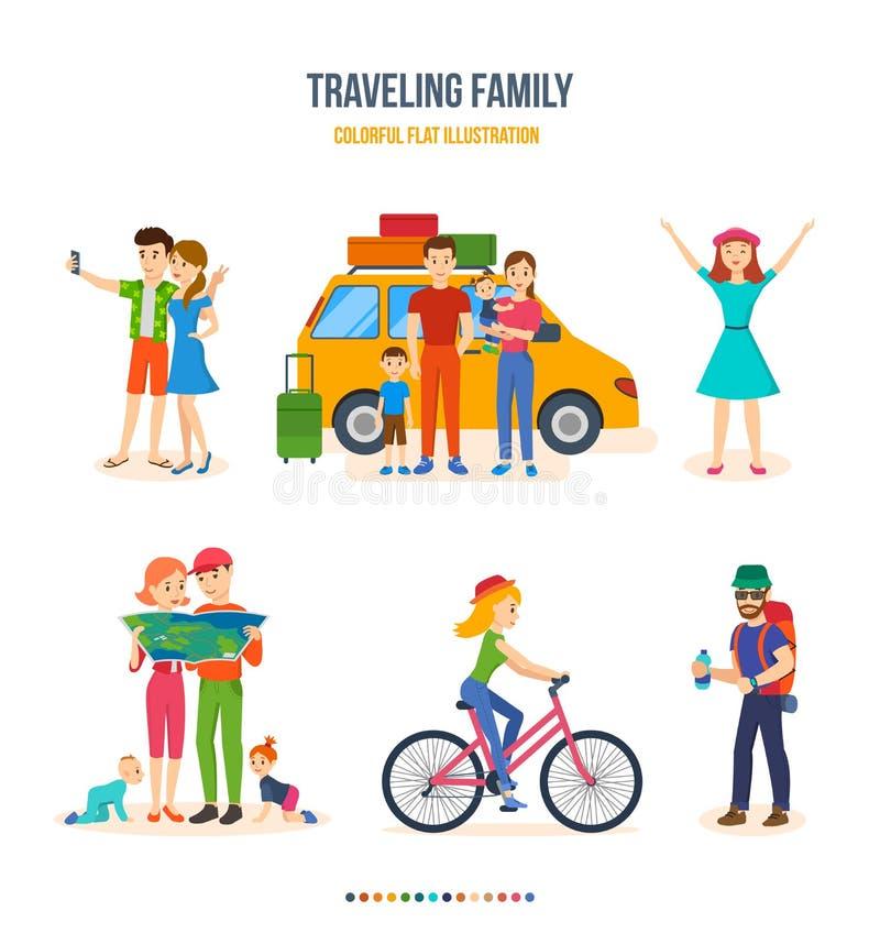 Reizende familie, gezamenlijke reizen die, fietsreis, reis, met jonge geitjes wandelen vector illustratie