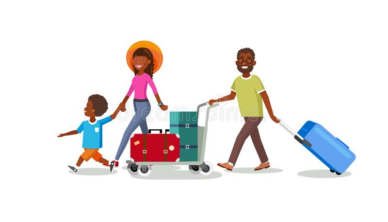 Reizende Familie met het Beeldverhaalvector van de Bagagekar vector illustratie