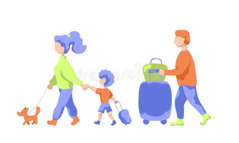 Reizende familie met huisdier en bagage, vlakke vectorillustratie Familie die aan de zomervakantie weggaan royalty-vrije illustratie