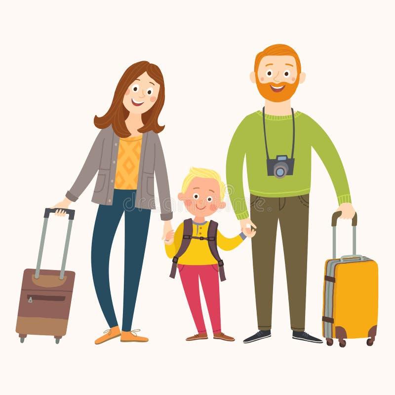Reizende familie op vakantie Gelukkige familie met bagage Beeldverhaal vectordieeps 10 illustratie op witte achtergrond wordt geï stock illustratie