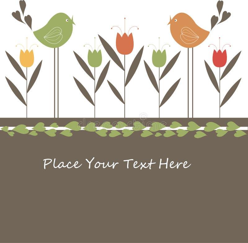 Reizende Frühlings-Auslegung mit Blumen und Vögeln. vektor abbildung