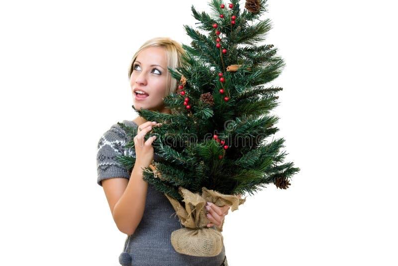 Reizende Frau, die ein christmastree anhält stockbild