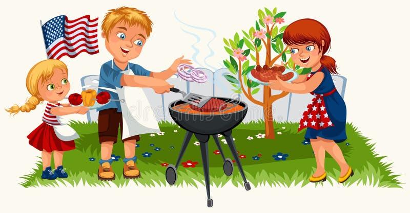 Reizende freundliche Familie, die nettes Picknick im Garten hat vektor abbildung