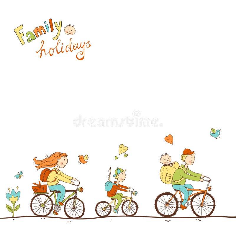 Reizende freundliche Familie mit zwei Kindern, die mit dem Fahrrad, ein Fa reisen vektor abbildung