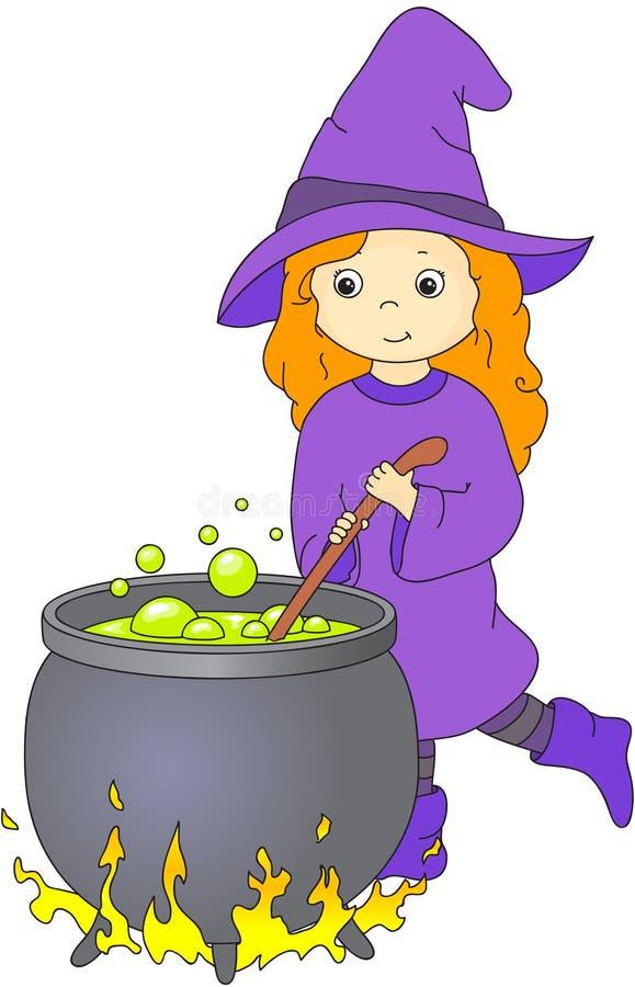 Reizende freundliche Hexe mit dem roten Haar braut einen Trank in einem großen Kessel vektor abbildung