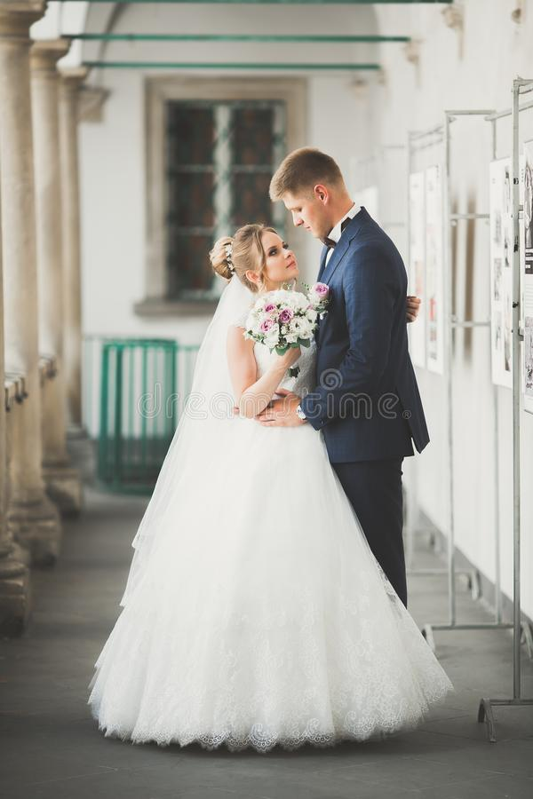 Reizende glückliche Hochzeitspaare, Braut mit dem langen weißen Kleid, das in der schönen Stadt aufwirft stockfotografie