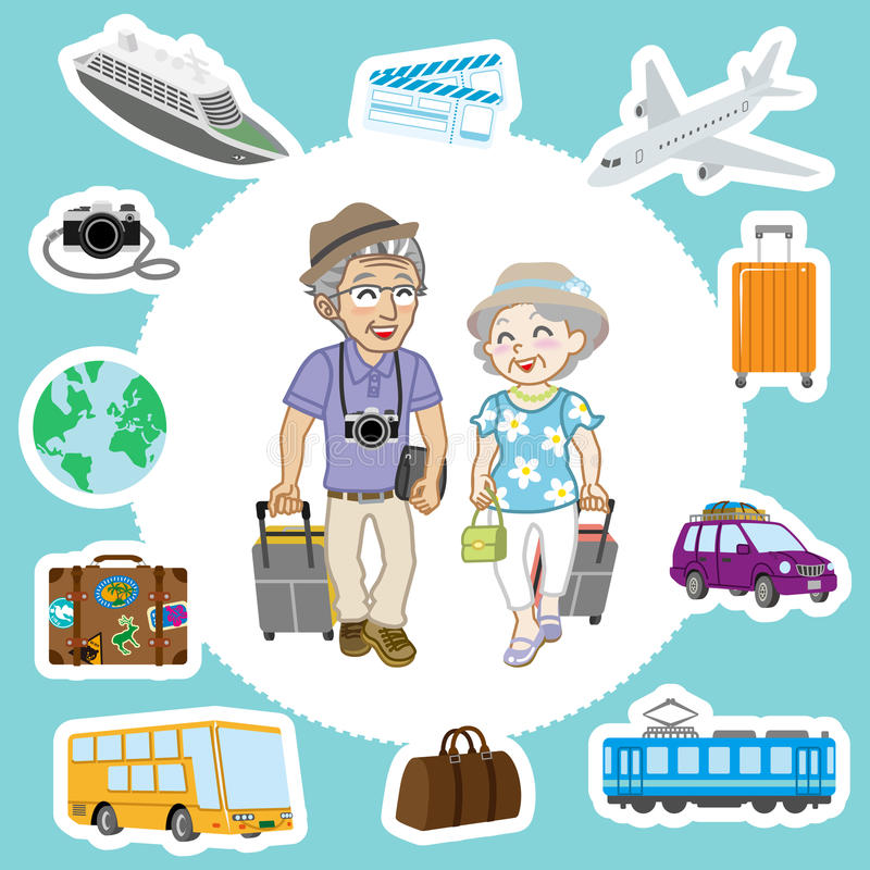 Reizende Hogere Paar en Vervoersreeksen royalty-vrije illustratie