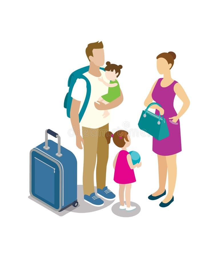 Reizende jonge familie met kinderen vector illustratie