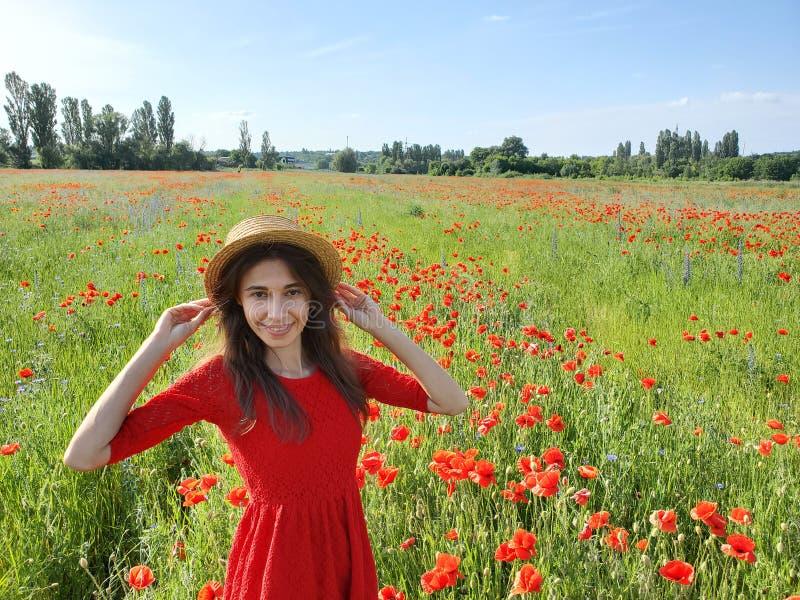 Reizende junge romantische Frau im Strohhut auf dem Mohnblumenblumenfeld, das auf Hintergrundsommer aufwirft Tragender Strohhut w lizenzfreies stockfoto