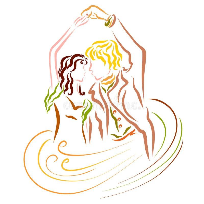 Reizende junge Tanzenpaare, Magie des Tanzes und Liebe vektor abbildung