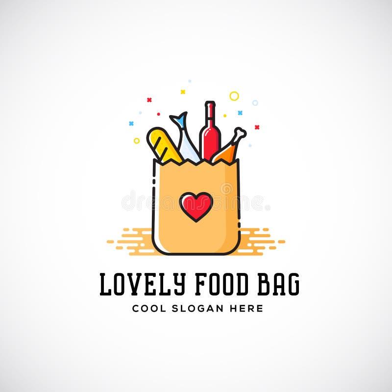 Reizende Lebensmittel-Papiertüte mit Herz-Symbol, Brot, Wein, Fischen, usw. vektor abbildung