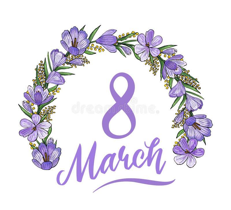 Reizende am 8. März Postkarte mit Krokussen und Mimose stock abbildung