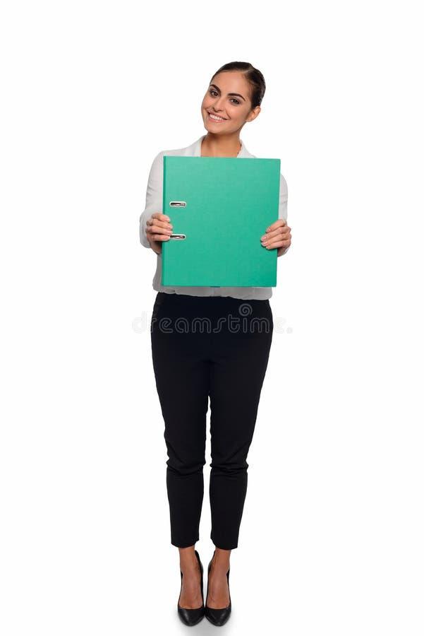 Reizende moderne Dame mit einem Unternehmensplan lizenzfreies stockbild