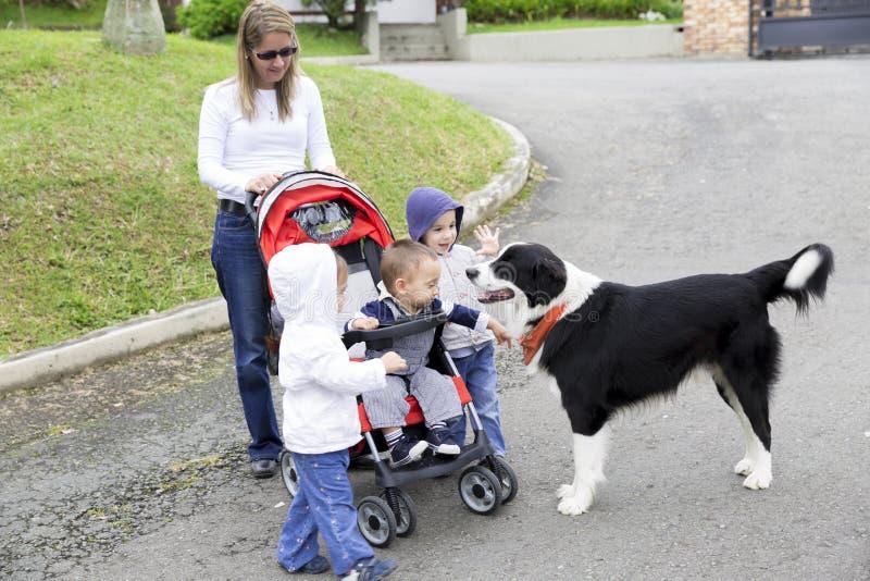 Reizende Mutter mit ihren Kindern und Hund stockfoto