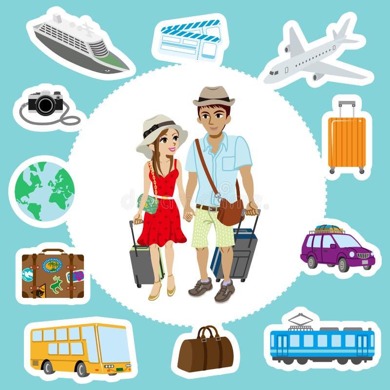Reizende Paar en Vervoersreeksen stock illustratie