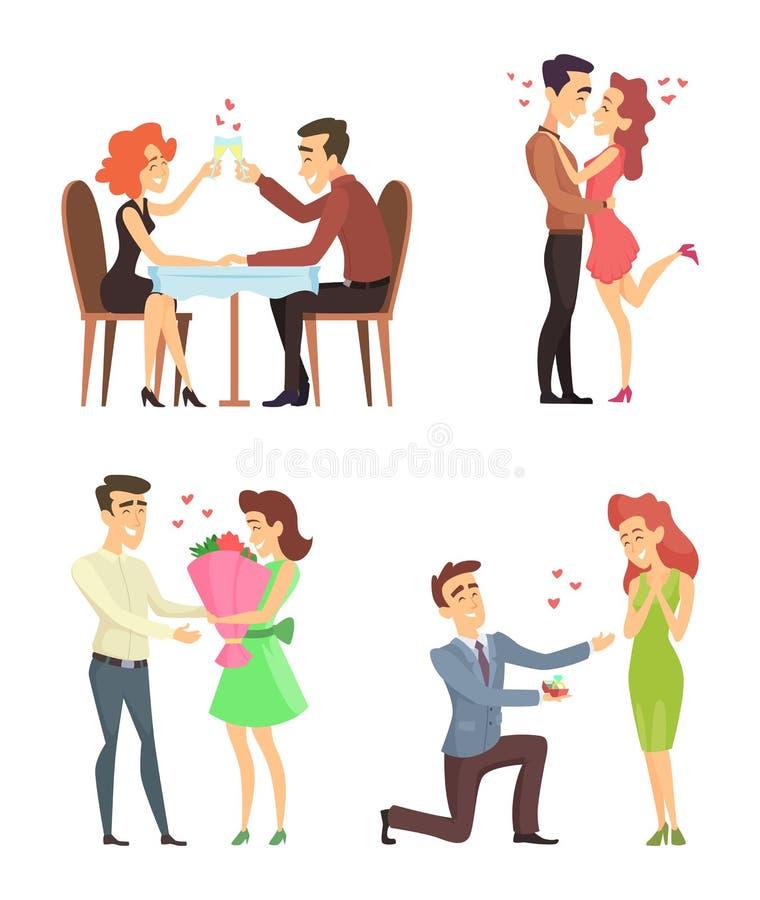 Reizende Paare Romantischer Mann und Frau der lustigen Charaktere Illustrationen für Valentinsgrußtag stock abbildung