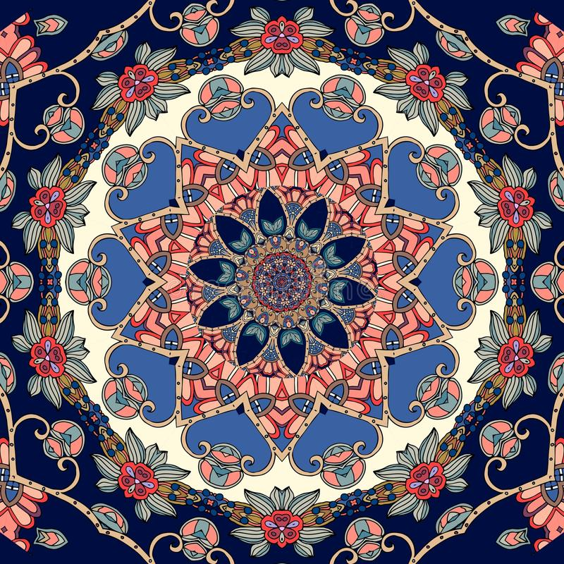 Reizende Tischdecke mit Blume - Mandala in der indischen Art stock abbildung