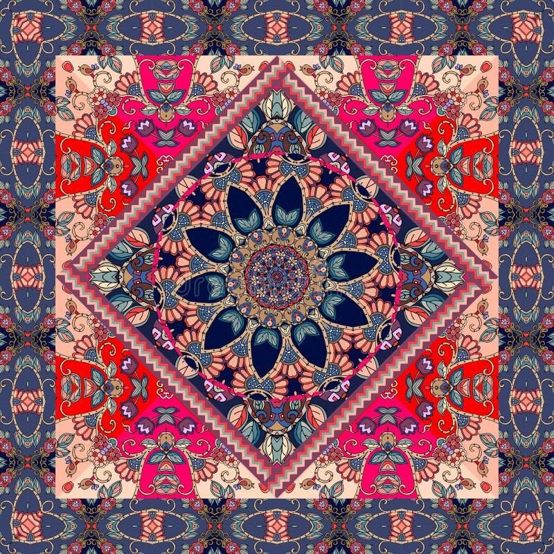 Reizende Tischdecke mit Mandala und dekorative Grenze auf Blumenhintergrund stock abbildung