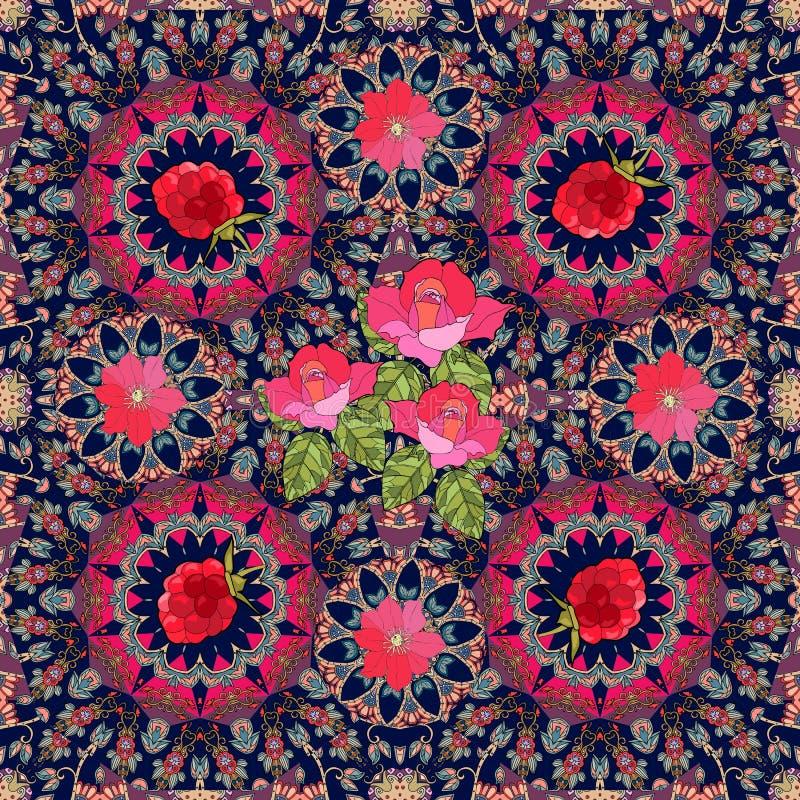 Reizende Tischdecke oder festliches Halstuch mit Rosen, Klematis und Himbeeren stock abbildung