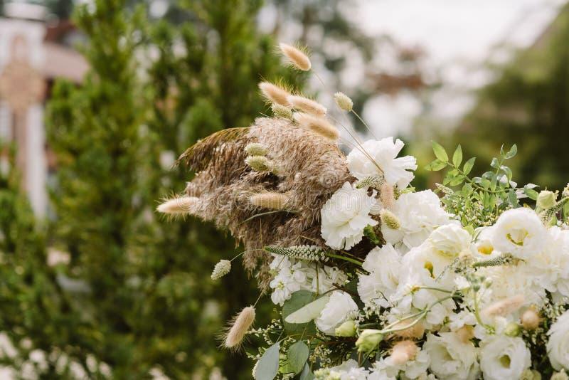 Reizende und leichte flaumige Trockenblume in einem Heiratsdekor stockfotografie