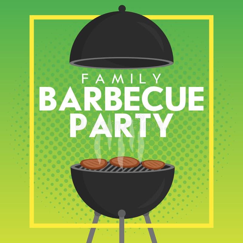 Reizende Vektorgrillparteieinladungs-Designschablone Modisches BBQ-Cookoutplakatdesign lizenzfreie abbildung