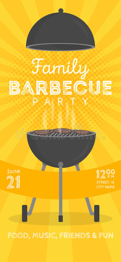 Reizende Vektorgrillparteieinladungs-Designschablone Modisches BBQ-Cookoutplakatdesign stock abbildung